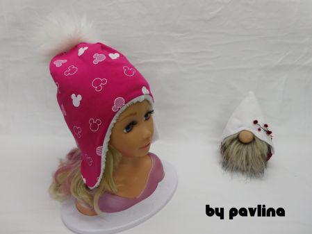 Dívčí zimní čepice s bambulí - Malinová myška 2  839e2ca4b5